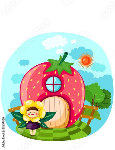 Foto op Aluminium Kasteel Littel fairy girl with strawberry house