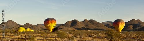 Balloons preparing to lift off in Arizona panoramic - 28698251