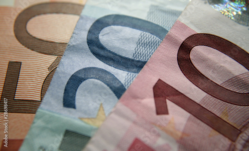 Colorful close-up of 10, 20 and 50 Euro bills