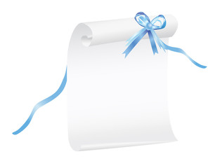 Scroll of paper with a blue ribbon