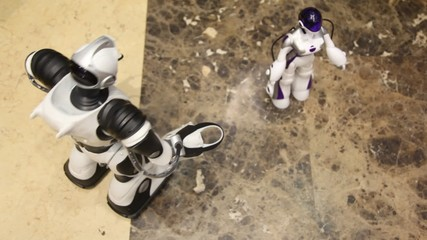 Pair of radiocontrol toy robots moves on floor