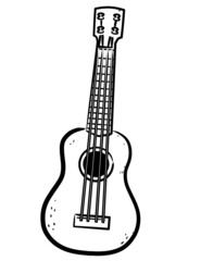 simple Ukulele line art illustration