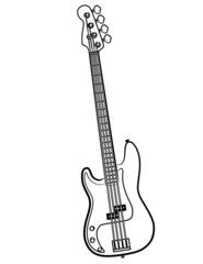simple Electric Bass Guitar line art illustration