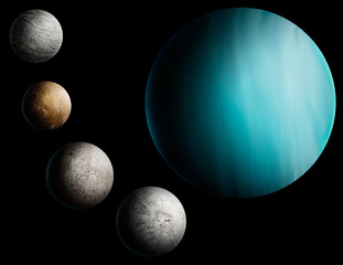 digital painting of the planet Uranus and 4 moons