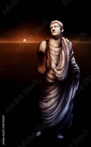 painting of a broken statue of Roman Emperor Caligula