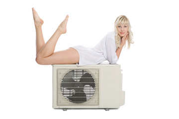 Beautiful girl with a new model for the air conditioner.