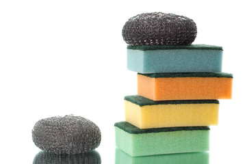 group of multi-colored sponges