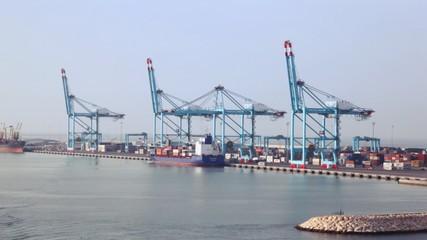 cargo ships in sea freight dock
