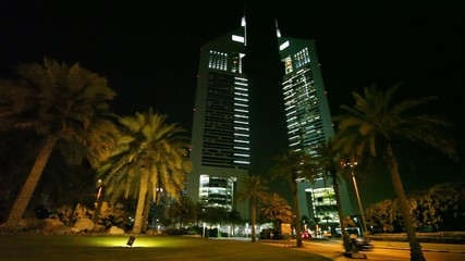 Modern skyscraper at night