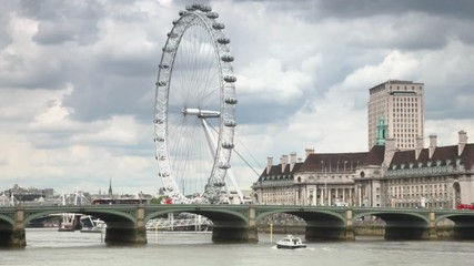 Thames river, Westminster Bridge and London eye