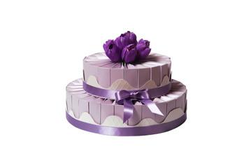 wedding cake made of gift boxes on white