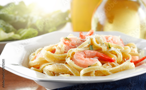 Tasty Shrimp Fettuccine Alfredo wide shot