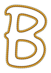 Navy Sailor-Style Isolated Rope Alphabet Letter B