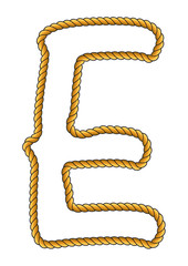 Navy Sailor-Style Isolated Rope Alphabet Letter A