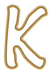 Navy Sailor-Style Isolated Rope Alphabet Letter K