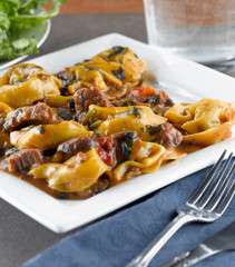 braised beef and portobello tortelloni