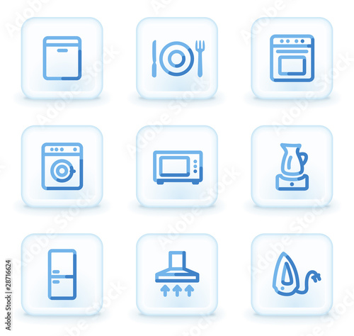 Home appliances icons,  square ice buttons