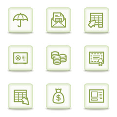 Banking  web icons, white glossy buttons