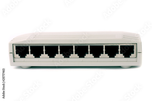 8 ports switch on white isolated background.