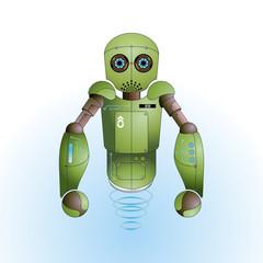 Cute green robot vector background