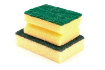 Yellow sponge isolated on white background.