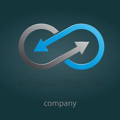 Logo infinite with arrows. Teamwork # Vector