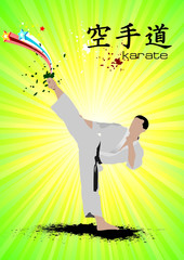 Oriental combat sports. Poster of Karate. Vector illustration