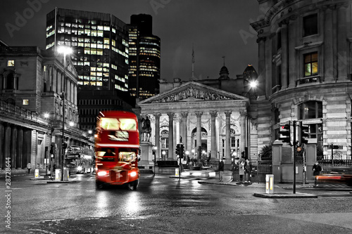 Foto op Aluminium Londen rode bus Royal Exchange London