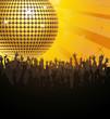 Discokugel gelb mit Fans