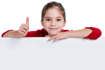 girl with thumb up holding empty board