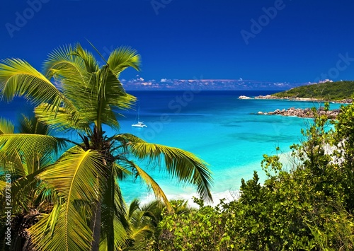 Dream seascape view, Seychelles, La Digue island