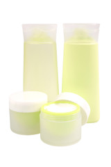 Green cosmetic cream isolated on white with clipping path