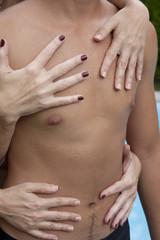 Cute male body with women hands