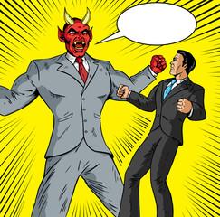 Angry Demon battling a good businessman