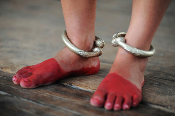 Dancer's feet with silver rings