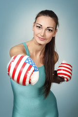 boxing young woman
