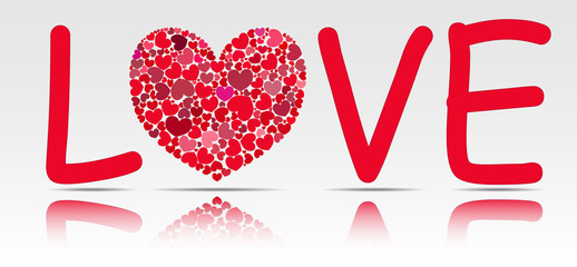 """Word """"love"""" with a heart of glass instead of O."""