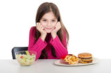 little girl with healthy and unhealthy food poster