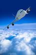 passagierflugzeug und über den wolken