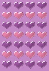 Pink and purple valentine hearts illustration