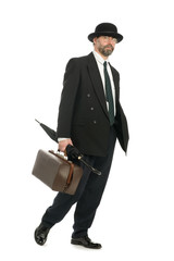 Businessman with an old bag