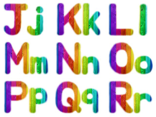 Letters J K L M N O P Q R with a Wooden Rainbow Background