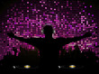 DJ and crowd on pruple mosaic background