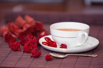 black tea in a white cup