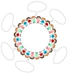 Menschen im Kreis, Sprechblase