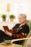 Female pensioner reading at home poster