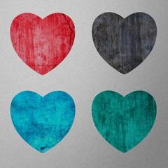 4 coeurs sur fond argent
