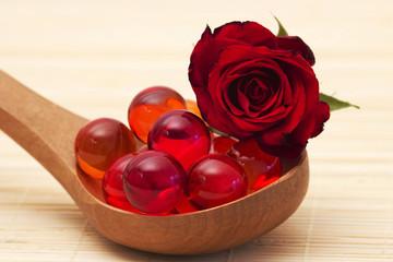 oil bath pearls and fresh rose