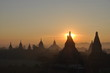 Early morning sunrise over temples of Bagan Myanmar