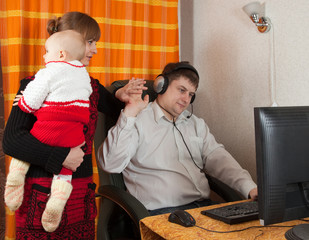 mother and daughter disturbs  working father